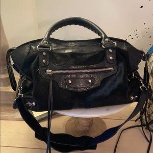 Auth. Balenciaga Pony Hair Classic Motorcycle Bag